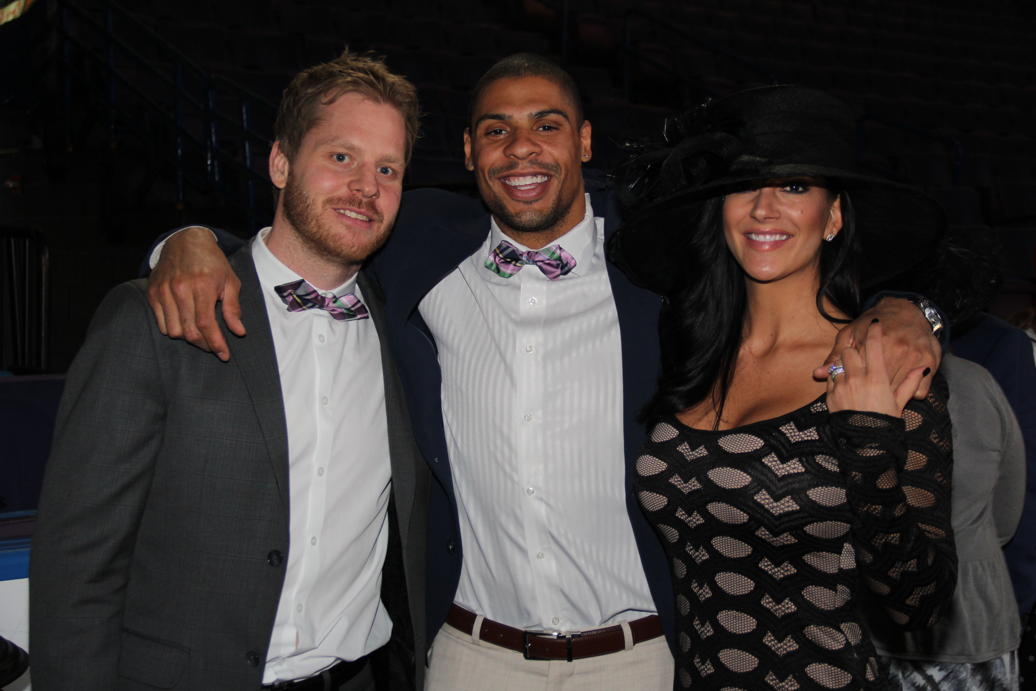Blues forwards Jaden Schwartz, Ryan Reaves with Alanna Reaves